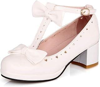 HILIB Woman's Low Heel Vintage Lolita Shoes Cute Bowknot Mary Jane Shoes