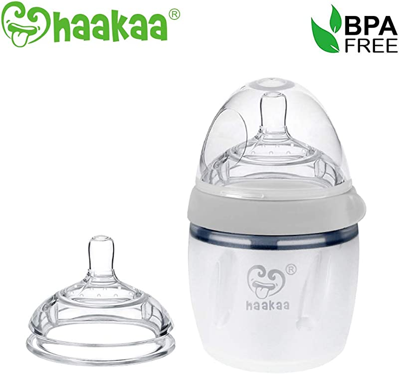 Haakaa Silicone Baby Bottle 5 Oz With M Nipple Set For Infant Newborn Grey 5oz M