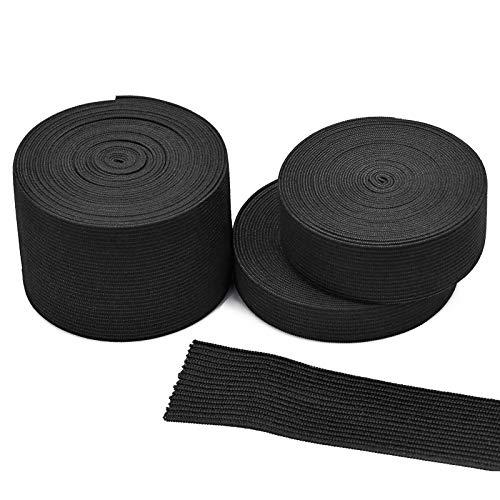 KARAA 3PCS Schwarz Gummiband 15/25/50mm Breit zum Nähen Elastisch Band Gummilitze 5M lang für Haushalt DIY Kleidung Hosen