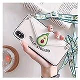 Glqwe Paquete de Tarjeta de Fresa Funda de teléfono de Silicona Suave para iPhone 12 Mini Pro MAX 6 7 8 11 S Plus X S XR Cubierta de Soporte MAX Coque (Color : A, Material : For iPhone X)