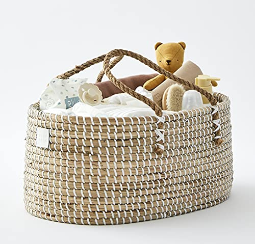 Bebe Bask Baby Diaper Caddy Organizer in Organic Seagrass w Removable Divider. This Luxury Diaper Caddy Basket Makes The Perfect Cute Diaper Caddy for Baby Girl & Diaper Caddy for Baby Boy