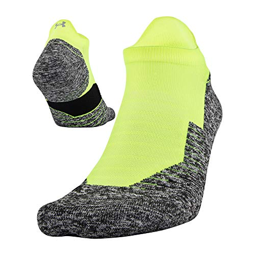 Under Armour Run Cushion No Show Tab Socks, 1-Pair, Hi Vis Yellow/Black, Shoe Size: Mens 4-8, Womens 6-9