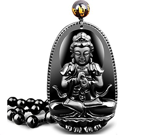 Obsidian Feng Shui Engraving Buddha Amulet Talisman Pendant, Obsidian Decorative Hanging Ornament