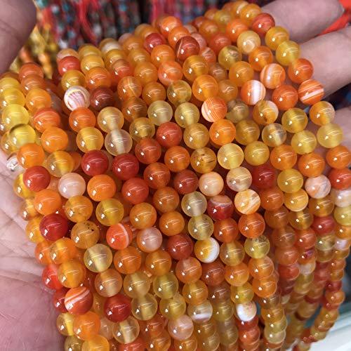 Perle di agata naturale, 8 mm, 6 mm, 4 mm, lucidate e opache, per gioielli, bracciali, collane, gioielli e gioielli, colori assortiti (6 mm, 15 pezzi, Topaz, arancione lucidato)