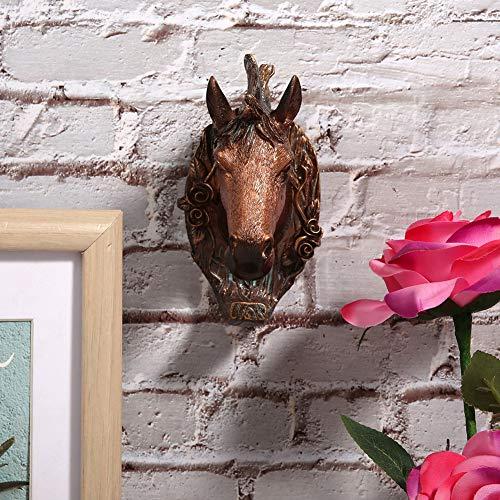 Oumefar Ganchos creativos para decoración de Cabeza de Animal, Gancho para Colgar Abrigo conservante, Gancho para Pared con Forma de Animal Vintage,(Horse (Antique Copper))