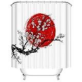 Fangkun Cherry Tree Art Dekoratives Duschvorhang-Set mit 12 Haken – Sakura in Blüte & roter Sonne Symbol von Japan – Polyester Fabri Badvorhänge – Schwarz & Weiß – 182,9 x 182,9 cm