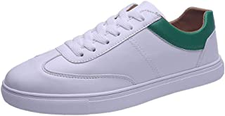 ZUAN Skate Sneakers for Men PU Leather Fashion Occasional Sport Shoes Walk Two Tones Easy Care Anti-slip Flat Lace Up Round Toe