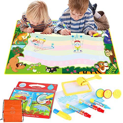 Anpro Wasser Doodle Zeichnung Matte 120 x 90cm Drawing Matte mit Wasserzeichenbuch, 3 Stifte, 3 Stempelformen 1 Raddichtung 1 Wasserschale und 1 Pinsel, Wiederverwendbare Wasser Malmatte für Kinder