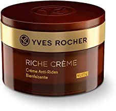 Yves Rocher Face Moisturizer Riche Crème Anti-wrinkle Comforting Night Cream with precious oils, for Mature Skin + Dry ski...
