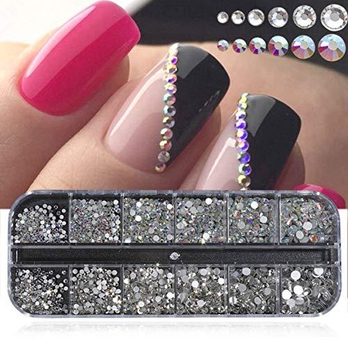 Scatola da 12 griglie in cristallo lucido AB Strass per unghie Posteriore piatta Scintillio Gioielli Fascino Diamante Decorazione per nail art (multicolore)