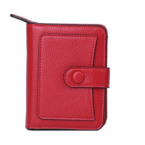 Carteras para Mujer Monedero pequeño,Vodabang Cuero Carteras Cortas con el sostenedor de la Tarjeta de crédito, Compartimiento de la Nota y Monedero de la Moneda con Cierre de Cremallera (Red)