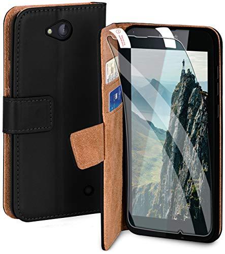 moex Handyhülle für Microsoft Lumia 640 - Hülle mit Kartenfach, Geldfach & Ständer, Klapphülle, PU Leder Book Hülle & Schutzfolie - Schwarz