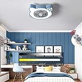 Lámpara De Techo Ventilador LED Con Control Remoto, 46W Regulable Ventilador De Techo En Silencio Iluminación Ajustable Con Lámpara De Techo Velocidad Del Viento Para Niños, Rosa, D58 · 20 Cm,Azul