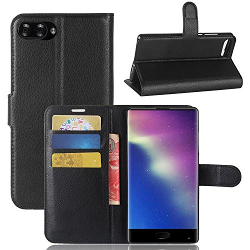 Tasche für Doogee MIX Hülle, Ycloud PU Kunstleder Ledertasche Flip Cover Wallet Case Handyhülle mit Stand Function Credit Card Slots Bookstyle Purse Design schwarz
