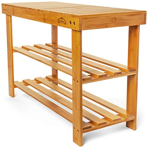 Homemaid Living Bamboo 3 Tier Shoe Rack Bench, Premium Shoe Organizer or Entryway Bench, Perfect for Shoe Cubby, Entry Bench, Bathroom Bench, Entryway Organizer, Hallway or Living Room(Natural Bamboo)