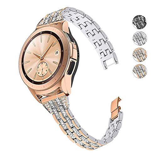 DEALELE Compatible con Galaxy Watch 42mm / Active/Active 2, 20mm Elegante Diamante Acero Inoxidable Metal Correa de Repuesto para Samsung Gear Sport/Huawei Watch GT2 42mm, Plata-Oro Rosa