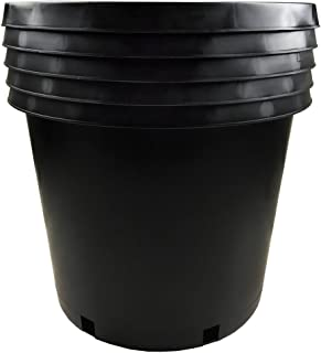 Calipots 5-Pack 15 Gallon Premium Black Plastic Nursery Plant Container Garden Planter Pots(15 Gallon)