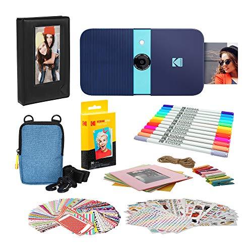 KODAK Smile Impresora Digital instantánea (Azul) Paquete de Marcos de Fotos con Estuche Blando