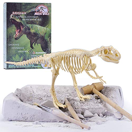 Educated Jurassic Dinosaur Fossil Mold Kit, Dino Easy Dig Sand Tool, Dino Discovery Toy with Replica Puzzle Bones, for Kids Child Having Fun (T-rex)