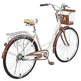 Bicicleta de mujer de 26 pulgadas, Classic Beach Cruiser Bicicleta Freestyle Adult Teens Cycle Marco de acero Mountain Bike, Retro ...