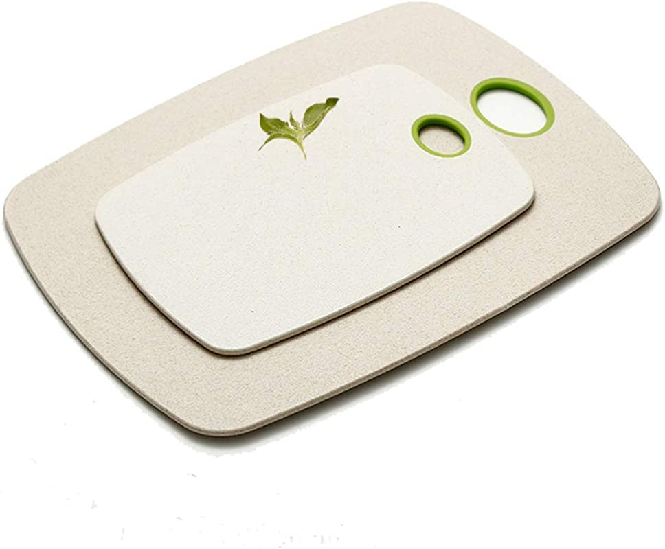 2 Pieces Set Environmental Protection Wheat Straw Cutting Board Easy Grip Handles Antibacterial Non Porous Non Slip Chopping Boards Multiple Sizes
