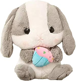 QIHANG ぬいぐるみ兎クリスマスプレゼント/お誕生日ウサギ大うさぎ大きい手触りふわふわ45CM動物ぬいぐるみ抱き枕女性母の日彼女ギフト贈り物女の子店飾り巨大ぬいぐるみおもちゃグレー