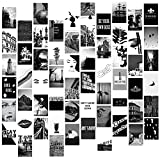 60 Pieces Wall Collage Kit Aesthetic Room Decor for Bedroom,Black and White Photo Art Pictures Collage Kit for Teen Girls and Women,Graduation gift for 2021 graduates, 4x6 inch Photo Collection