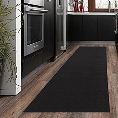 Ottomanson Ottohome Collection Solid Design Hallway Kitchen Runner Rug (Non-Slip) Rubber Backing Area Rug, 20  X 59 , Black