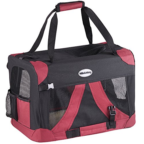 MILO & MISTY Fabric Pet Carrier - Lightweight Folding Travel Seat for Dogs, Cats, Puppies - Made of Waterproof Nylon and a Durable Steel Frame (Small)