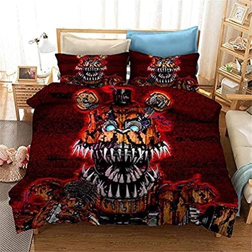 WANGHU Freddy's Five-Night Juego de ropa de cama Freddy's Five-Night, 100% microfibra, muy suave y cómodo, regalo para niños (A03,200 x 200 cm + 80 x 80 cm x 2)