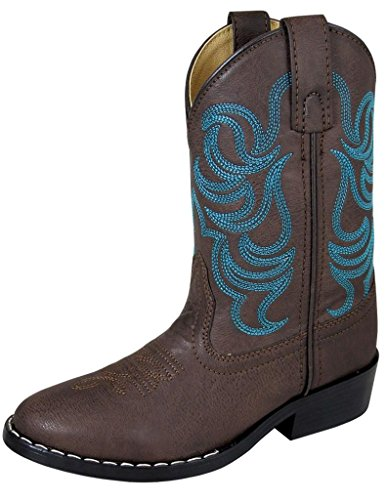 Smoky Mountain Boys Brown with Blue Stitch Monterey Western Cowboy Boots , Brown , 2 M US Little Kid