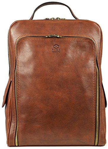 Leder Rucksack Damen und Herren Handgemachter Laptop Rucksack für den Täglichen Gebrauch im Vintage Design Rucksack Klein Laptopgröße bis zu 33 Zentimeter Hellbraun - Time Resistance