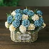 Cesta de flores de seda artificial arreglos florales de flores falsas mesas de...