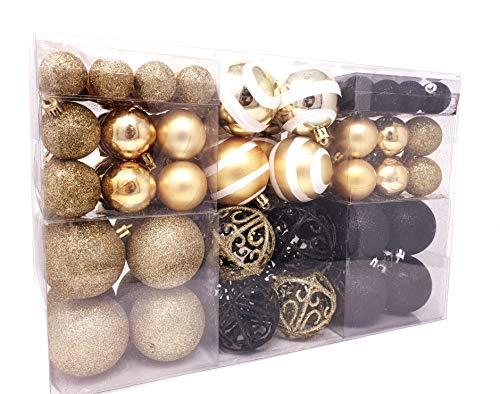 Lifestyle & More 100 Weihnachtskugeln 2 farbig schwarz und Gold passend mit Haken glänzend glitzernd matt Christbaumschmuck Christbaumkugeln bis Ø 6 cm Baumschmuck Weihnachtsdekoration