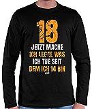 Camiseta de manga larga para hombre de Hariz, 18 Jetzt Mache Ich Legal was Ich Tue Seitdem Ich 14 Bin 18 cumpleaños, 18 cumpleaños, 18 años, más tarjetas de regalo Negro XXXL