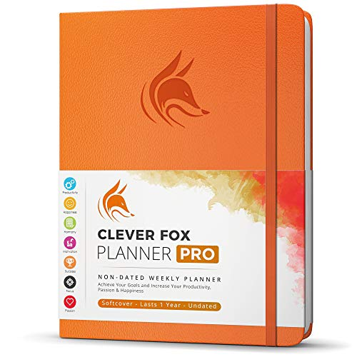 """Clever Fox Planner PRO - Weekly & Monthly Life Planner to Increase Productivity, Time Management and Hit Your Goals - Organizer, Gratitude Journal - Undated - 8.5 x 11"""" - Lasts 1 Year (Orange)"""