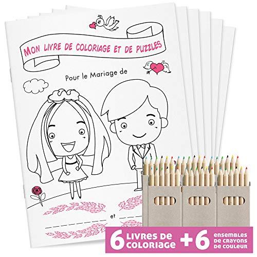WEDDNG Livre de coloriage de Mariage pour Enfants DINA5. 28 Pages coloriage + Puzzles conçus avec Amour. Jeu Enfant. Cadeau Mariage (6 Livres à colorier + 6 Crayons de Couleur)
