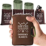 World's Toughest Emergency Blankets | 4 Pack Extra Large Thermal Mylar Foil Space Blanket for Hiking, Marathon Running, First Aid Kits, & Outdoor Survival Gear | Green