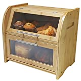 Arise Stylish Bamboo Bread Box for Kitchen Countertop, Extra Large 2-Shelf Wooden Bread Storage with Clear Windows and Air Vents Keeps Bread, Bagels and Rolls Fresh.15.7 x 10.4 x 14.4, Self Assembly