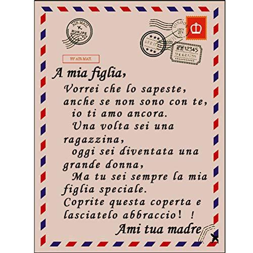 DUOCACL Manta de franela con texto en inglés 'To My Son And My Daughter', muy suave, para invierno, cálida manta de correo aéreo, regalo para hija, 150 x 220 cm