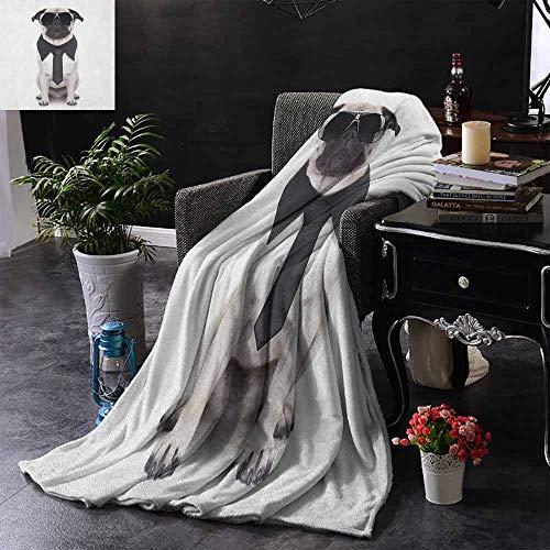 ZSUO Digital Printing Deken Koel kijken Hond Tie en Grote Fancy Zwarte Zonnebril Grappige Canine Animal Comedy Afbeelding Comfortabel Zacht materiaal, geven u Grote Slaap 70
