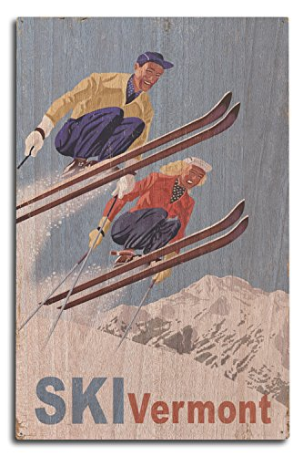 Lantern Press Ski Vermont - Vintage Skiers (10x15 Wood Wall Sign, Wall Decor Ready to Hang)