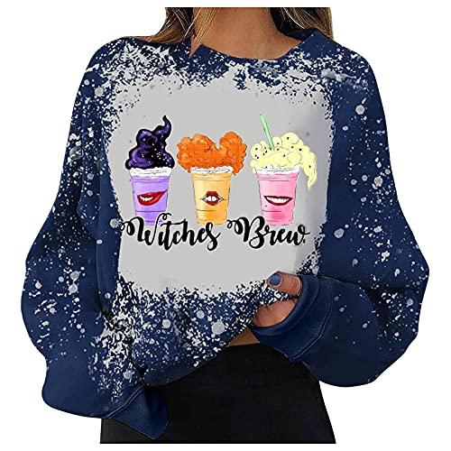 Halloween Crewneck Sweatshirt for Women,Girls Teens Y2k Tie Dye Long Sleeve Pullover Tops Trendy Rainbow Graphic Shirts Jumper (B-Purple,Medium)