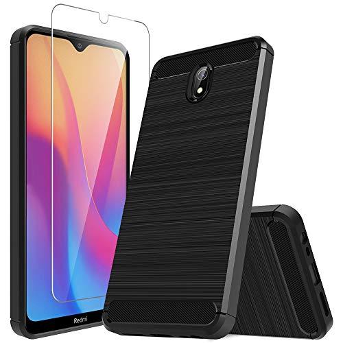MP-MALL LK Hülle Kompatibel mit Xiaomi Redmi 8A & 1 Stück Bildschirmschutz Schutzfolie, Kompletter Schutz Weich TPU Silikon Schutzhülle Kratzfest Handyhülle Hülle Cover - Schwarz