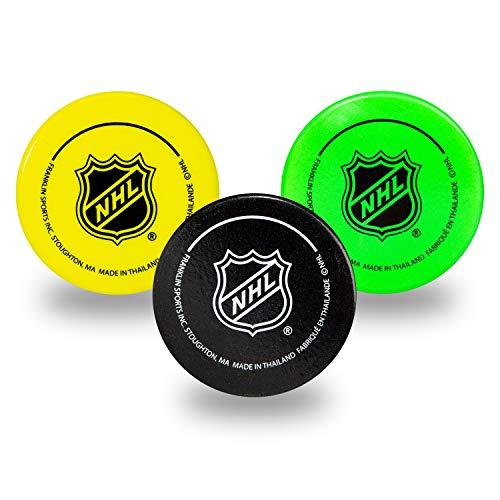 Franklin Sports Mini-Hockey-Pucks aus Schaumstoff, für drinnen und draußen, 3 weiche Schaumstoff-Hockey-Pucks