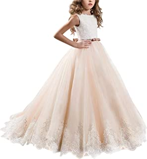 Little Big Girl Lace First Communion Wedding Dress Formal Party Pageant Gown Floor Long Flower Princess Dress