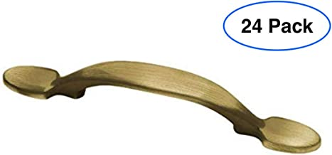 24 Pack - Liberty Hardware P50121H-AB-C Classic Center-to-Center Antique Brass Smooth Spoon Foot Drawer Pull, 3 inches