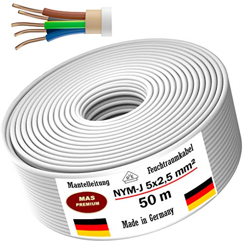 Feuchtraumkabel Stromkabel 20m, 50m oder 100m Mantelleitung NYM-J 5x2,5mm² Elektrokabel Ring für feste Verlegung (50m)