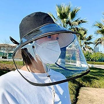 FayTun 飛沫防止 漁師帽2WAY無地帽子 ウイルス対策 コロナウィルス対策 花粉症対策 防塵 フェイスカバー つば広ハットコットン 透明タイプ 男女兼用 漁師の帽子 日除け帽子 防護帽 アイデアグッズ 新型コロナウイルス対策 フェイスカバー取り外すと 日除け帽子になる アウトドア 顔面隔離 口鼻目保護 フェイスカバー56-58CM
