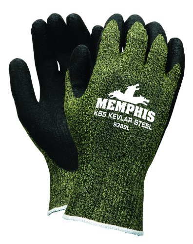 MCR Safety 9389L KS-5 Kevlar/Stainless Steel 13 Gauge Men's Gloves with Latex Dip Palm and Fingers, Black, Large, 1-Pair